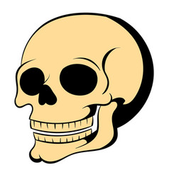 human skull icon cartoon vector image