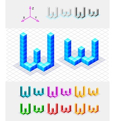 Isometric font from the cubes Letter W vector image vector image