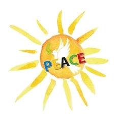 Peace dayWhite pigeonwatercolor sun vector image vector image