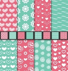 Set seamless Valentine Day textile patterns vector image