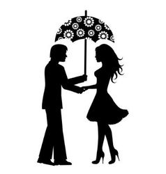 Silhouettes of men and women under the umbrella vector image