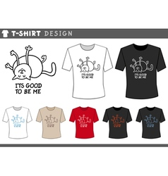 T shirt design with happy cat vector