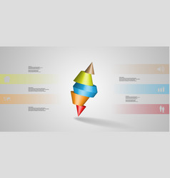 3d infographic template with spiked cone sliced vector image