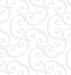 3D white swirly u shapes vector