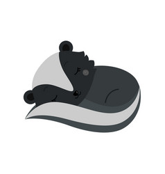 adorable cartoon sleeping skunk vector image