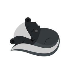 Adorable cartoon sleeping skunk vector