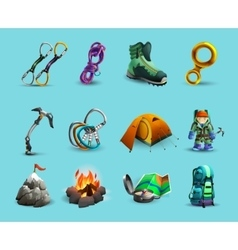 Alpine mountains climbing 3d icons set vector