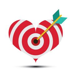Arrow in heart shaped dart board bullseye love vector