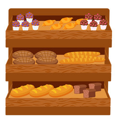 Bakery shop assortment with bread and cakes set vector
