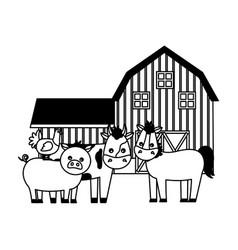 barn animals farm vector image