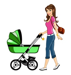 Beautiful Mother with Baby Cart vector