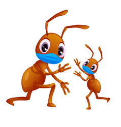 Big ant is playing with its child wearing a face vector