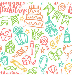 Birthday party doodle seamless pattern vector