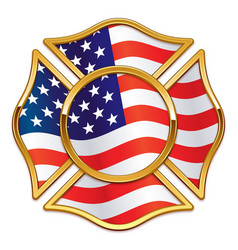 Blank fire department logo base with usa flag vector