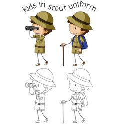 Boy scout character on white background vector