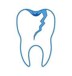 Broken tooth with root in blue silhouette vector