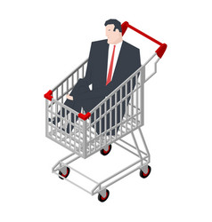 businessman sitting in shopping cart boss is vector image