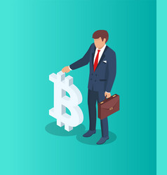businessman with bitcoin sign vector image