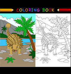 cartoon ankylosaurs coloring page vector image