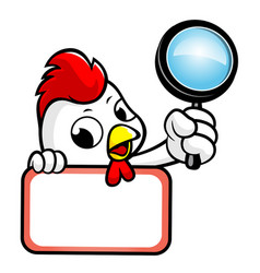 chicken character holding a magnifier and board vector image