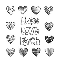 Christian inscriptions and hearts drawn by hand vector