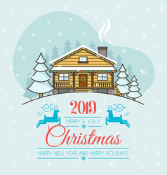 christmas greeting card with a house vector image