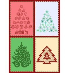 Collection of Christmas trees 02 vector image
