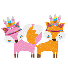 Colorful fox animals couple together with feathers vector