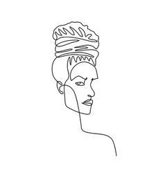 continuous line abstract female portrait vector image