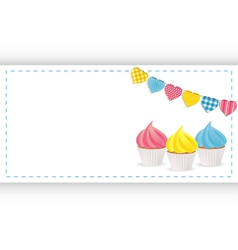 cupcake background panel and bunting vector image