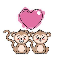 Cute couple monkeys with heart vector