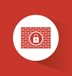 Cyber security padlock firewall protection vector