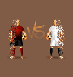 dark red and white soccer players holding vintage vector image