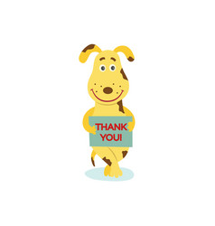 flat dog character with thank you poster vector image