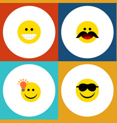 Flat icon expression set of grin happy cheerful vector