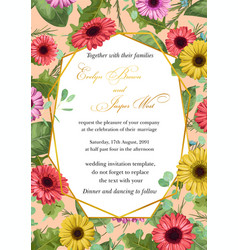 flower sample wedding invitation greeting vector image