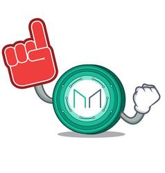 Foam finger maker coin mascot cartoon vector