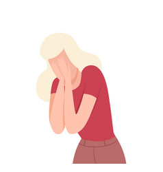 Frustrated crying young woman lonely and sad girl vector