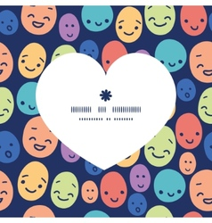 Funny faces heart silhouette pattern frame vector