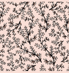 Gentle flower seamless pattern with pink plants vector