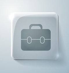 Glass square icon with highlights briefcase vector image