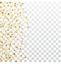 Gold stars falling confetti frame isolated on vector