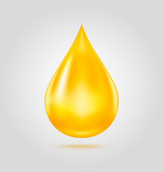 Golden oil drop isolated on light grey background vector