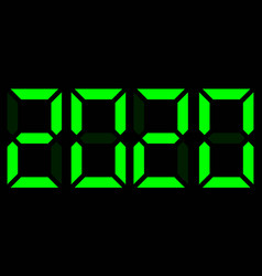 Green electronic digits 2020 on black background vector