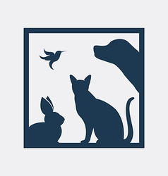 Group pets in frame vector