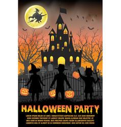 Halloween kids costume party in vector