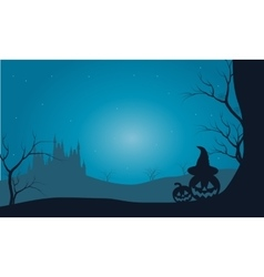 Halloween pumpkins and castle with fog scenery vector