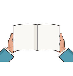 hands with open blank book template knowledge vector image
