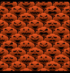happy halloween emotion pumpkin seamless pattern vector image