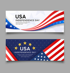 Happy independence day america flag banner vector